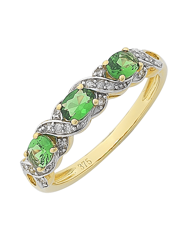 Emerald Ring - 9ct Yellow Gold Created Emerald and Diamond Ring - 766144 - Salera's