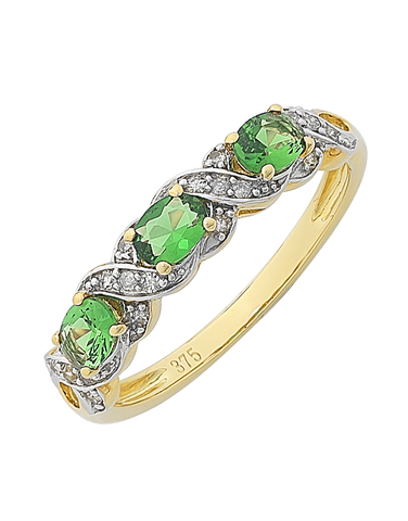 Emerald Ring - 9ct Yellow Gold Created Emerald and Diamond Ring - 766144