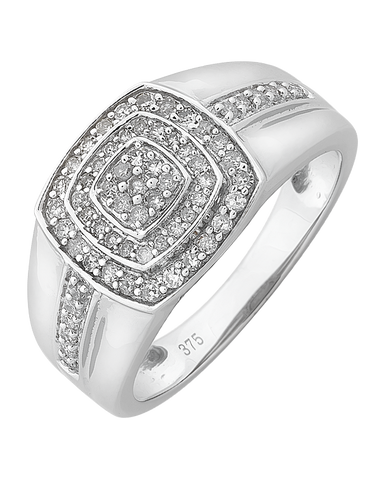 Men's Ring - White Gold Diamond Set Ring - 766147