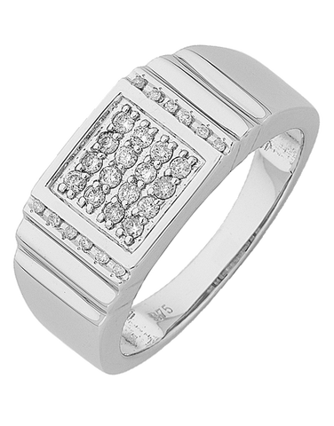 Men's Ring - White Gold Diamond Set Ring - 766148