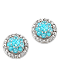 Salera's Blue Topaz Earrings - 9ct White Gold Blue Topaz & Diamond Earrings - 766156