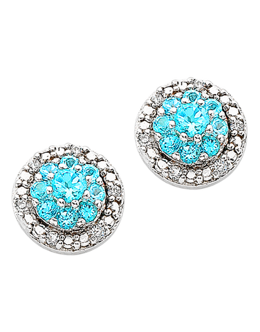 Blue Topaz Earrings - 9ct White Gold Blue Topaz & Diamond Earrings - 766156