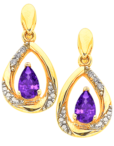 Amethyst Earrings - Yellow Gold Amethyst and Diamond Earrings - 766158