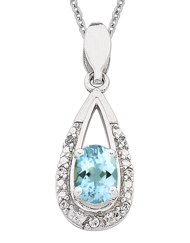 Aquamarine Pendant - 9ct White Gold Aquamarine and Diamond Pendant - 766160