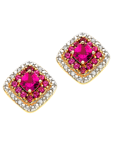 Rhodalite Earrings - Yellow Gold Rhodalite & Diamond Stud Earrings - 766161