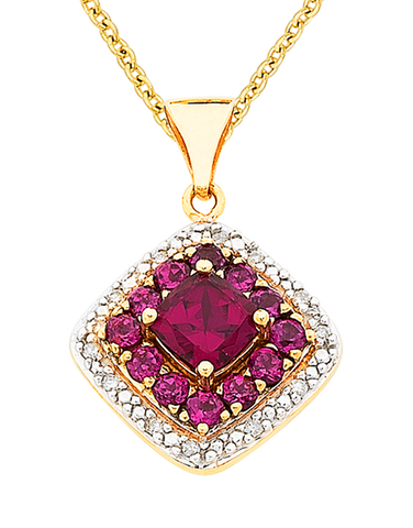 Rhodalite Pendant - Yellow Gold Rhodalite and Diamond Pendant - 766162