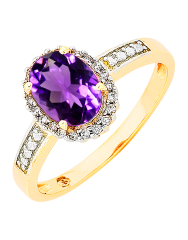 Amethyst Ring - Yellow Gold Amethyst and Diamond Ring - 766163
