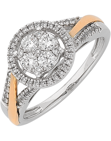 Diamond Ring - 10ct White & Rose Gold Diamond Ring with Halo - 766179