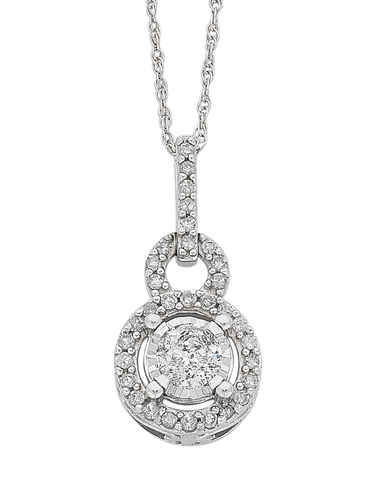 Diamond Pendant - White Gold Diamond Cluster Pendant - 766180