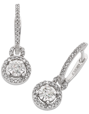 Diamond Earrings - White Gold Diamond Cluster Earrings - 766181