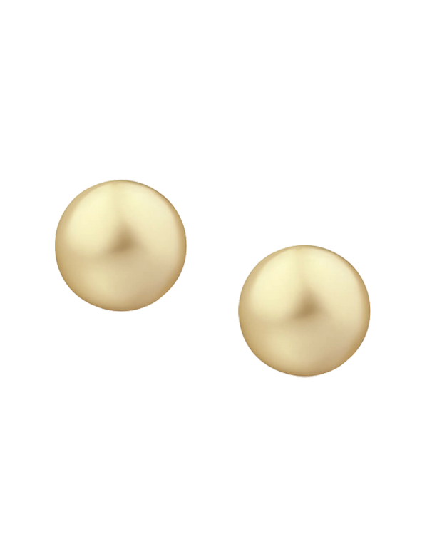 Pearl Earrings - South Sea Golden Pearl Studs on Yellow Gold - 766235 - Salera's