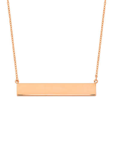 Gold Necklace - Rose Gold Bar Necklet - 766254
