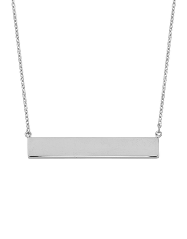 Gold Necklace - White Gold Bar Necklet - 766255