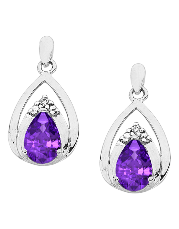 Amethyst Earrings - White Gold Amethyst & Diamond Earrings - 766258 - Salera's