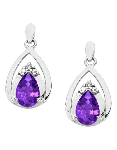 Amethyst Earrings - White Gold Amethyst & Diamond Earrings - 766258