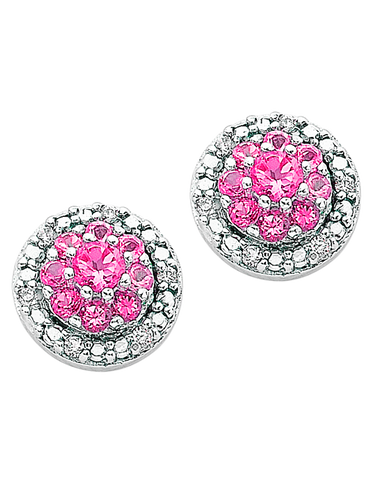 Pink Sapphire Earrings - 9ct White Gold Pink Sapphire & Diamond Earrings - 766260
