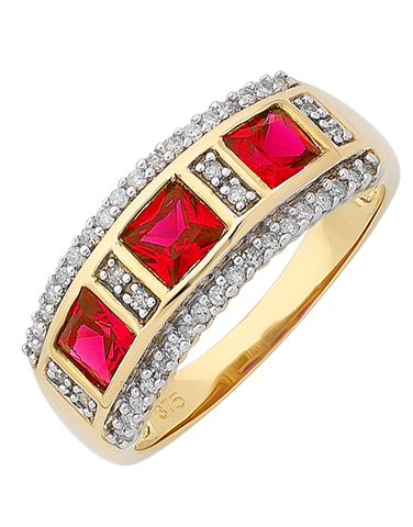 Ruby Ring - 9ct Yellow Gold Ruby and Diamond Ring - 766262