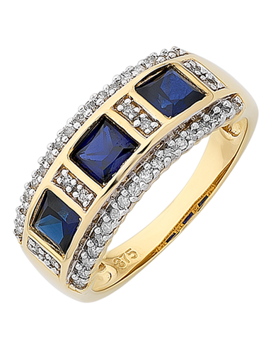 Sapphire Ring - 9ct Yellow Gold Sapphire and Diamond Ring - 766263