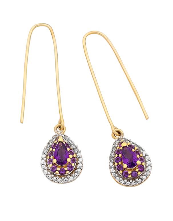 Amethyst Earrings - Yellow Gold Amethyst and Diamond Earrings - 766265 - Salera's Melbourne, Victoria and Brisbane, Queensland Australia