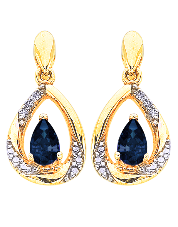 Sapphire Earrings - Yellow Gold Sapphire and Diamond Earrings - 766272 - Salera's Melbourne, Victoria and Brisbane, Queensland Australia