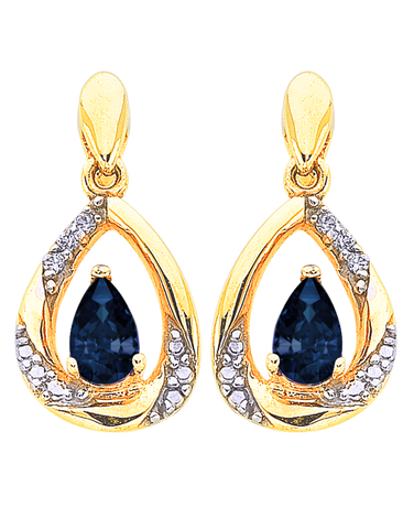 Sapphire Earrings - 9ct Yellow Gold Sapphire and Diamond Earrings - 766272