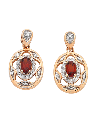Garnet Earrings - Rose Gold Garnet and Diamond Earrings - 766398