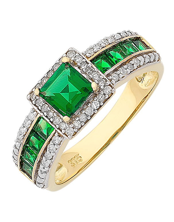 Emerald Ring - 9ct Yellow Gold Emerald and Diamond Ring - 766399 - Salera's