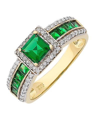 Emerald Ring - 9ct Yellow Gold Emerald and Diamond Ring - 766399