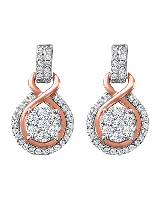 Diamond Earrings - Diamond Set Two Tone Earrings - 767243 - Salera's Melbourne, Victoria and Brisbane, Queensland Australia