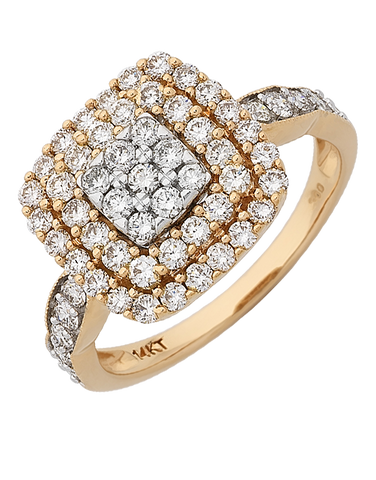 Diamond Ring - White and Rose Gold Diamond Ring - 767637