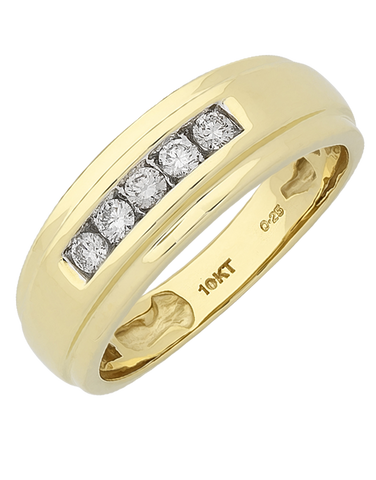 Men's Ring - Yellow Gold Diamond Ring - 767642