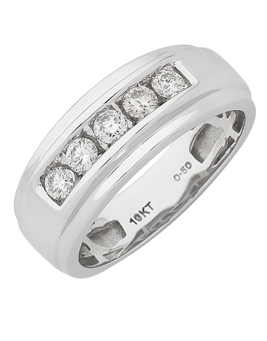 Men's Ring - White Gold Diamond Ring - 767643