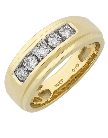 Men's Ring - Yellow Gold Diamond Ring - 767644