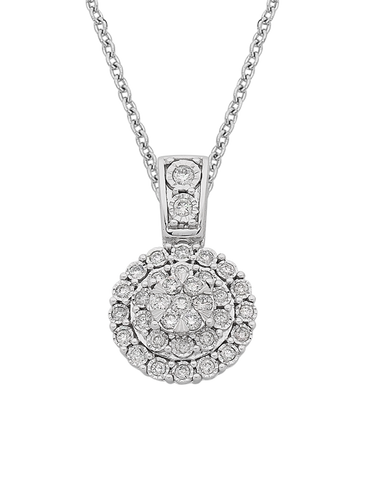 Diamond Pendant - Diamond Set White Gold Pendant - 767653