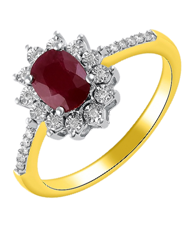 Ruby Ring - Yellow Gold Ruby & Diamond Ring - 767870
