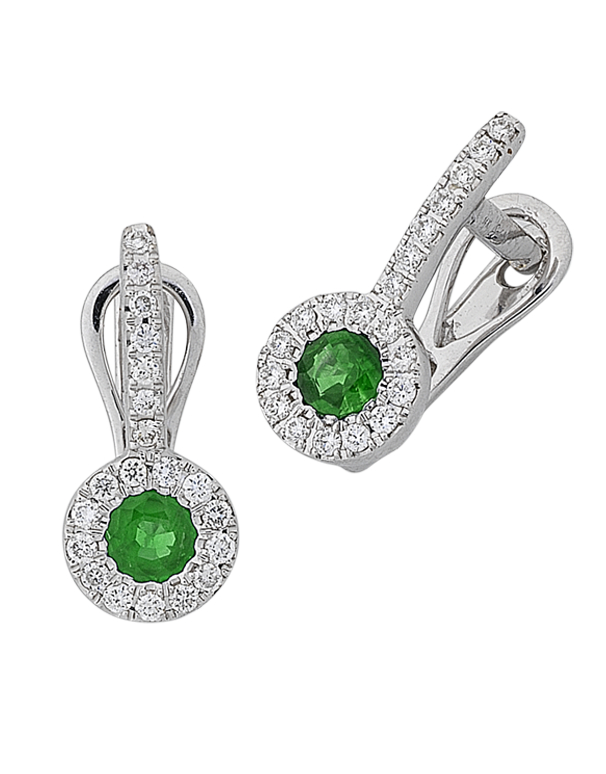 Emerald Earrings - Natural Emerald and Diamond Earrings - 767944 - Salera's