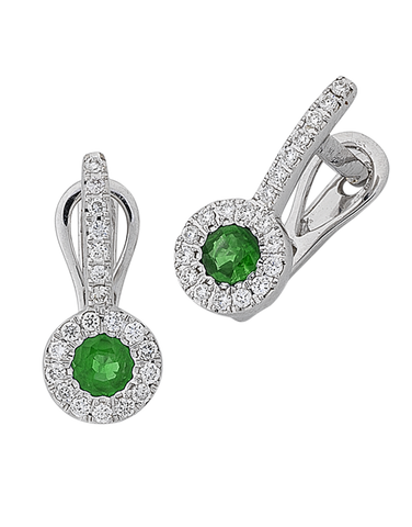 Emerald Earrings - Natural Emerald and Diamond Earrings - 767944