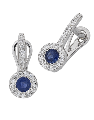 Sapphire Earrings - Natural Sapphire and Diamond Earrings - 767946