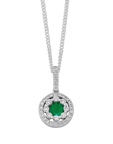Emerald Pendant - White Gold Emerald & Diamond Pendant - 767948