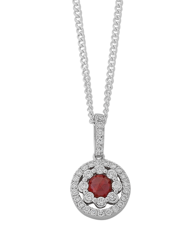 Ruby Pendant - White Gold Ruby & Diamond Pendant - 767949
