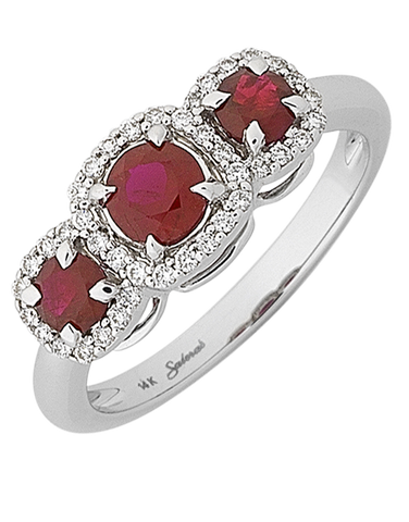 Ruby Ring - 14ct White Gold Ruby and Diamond Ring - 767966
