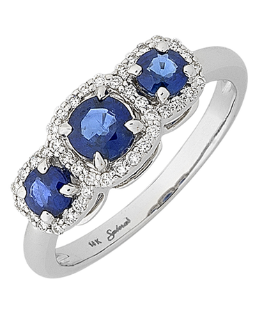 Sapphire Ring - 14ct White Gold Sapphire and Diamond Ring - 767967