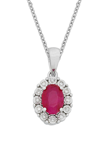 Ruby Pendant - White Gold Ruby & Diamond Pendant - 767971