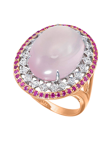 Esclusivo - 14ct Rose Gold Rose Quartz Pink Sapphire and Diamond Ring - 767973