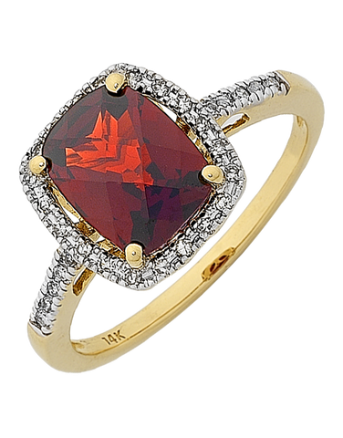 Garnet Ring - 14ct Yellow Gold Garnet & Diamond Ring - 768077