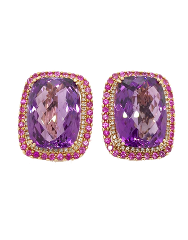 Esclusivo - Rose Gold Amethyst Pink Spinel and Diamond Earrings - 768093