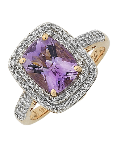 Amethyst Ring - Rose Gold Amethyst and Emerald Ring - 768103