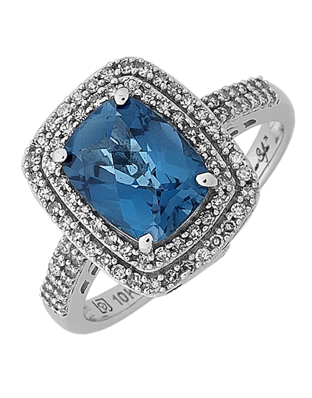 London Blue Topaz Ring - White Gold London Blue Topaz and Emerald Ring - 768104 - Salera's