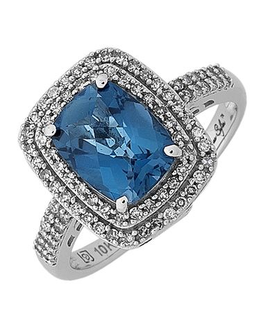 London Blue Topaz Ring - White Gold London Blue Topaz and Emerald Ring - 768104