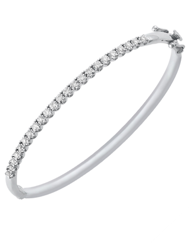 Diamond Bangle - 10ct White Gold Diamond Set Bangle - 768114